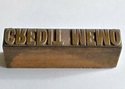 Letterpress Printing Printer Block Wood Copper Metal Type Credit Memo Stamp