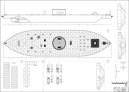 USS MONITOR Flusskanonenboot 1862. M 1:50 Modellbauplan Schiff