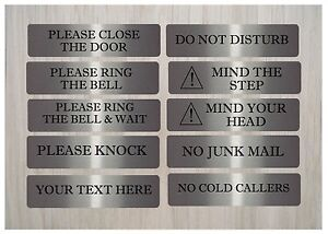 VITAL-HOUSE-OFFICE-SIGNS-Cold-Callers-Close-Door-Knock-Large-Brushed-Silver