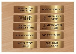 VITAL-SIGNS-GOLD-No-Junk-Mail-Ring-Bell-Close-Door-Metal-House-Office-Plaque