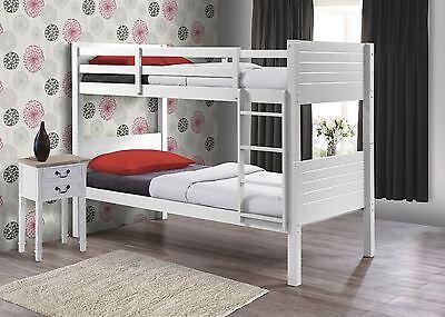 Birlea Dakota Wooden White Solid Wood Bunk Bed Frame 2X Single Beds 90CM 3FT