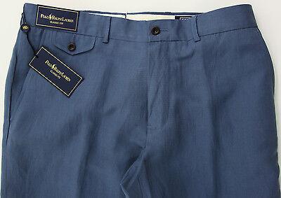 Men's POLO RALPH LAUREN Gray Blue LINEN SILK + Classic Fit Pants 30x30 NEW NWT