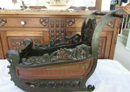 Vintage Large Ornate Wooden Hand Made Christmas Sleigh- Wood Art ~23.5 x 17.0""