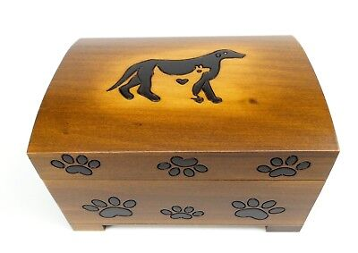Pet Urn Cat Dog Paw Print Wood Box Cremation Ashes Wood Chest Large Memorial Box