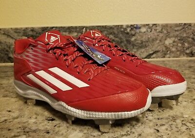 hot sale online a050c d906b Quality Men s adidas PowerAlley 3 Red Baseball Cleats Size Size 8.5 S84760