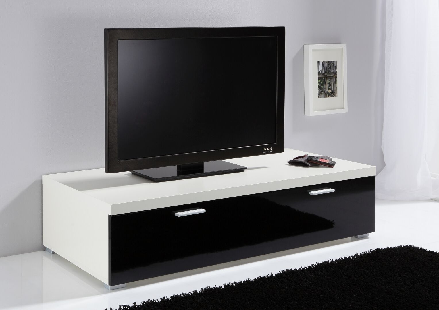 ModaNuvo Low TV Unit, TV Cabinet, TV Stand Off White U0026 Black High Gloss