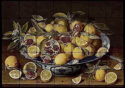 28x20 Pomegranates Kitchen Backsplash Mural Tumbled Marble Tiles Van Hulsdonck