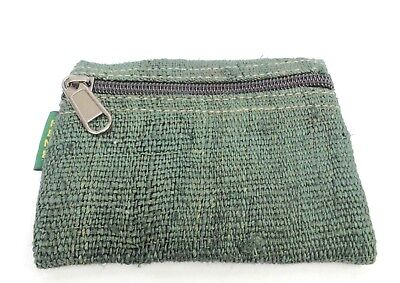 Hemp Coin Purse Dark Green Bag Pouch Credit Card ID Holder Vegan Wallet 3