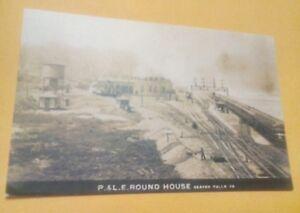 Old Beaver Falls PA. P.&L.E. Railroad Round House Yards Train Tank Postcard Repo