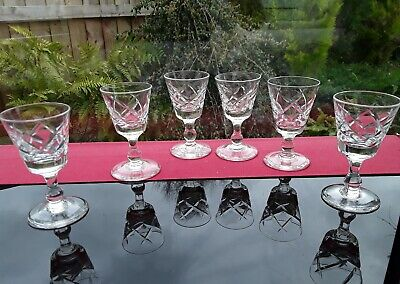 6 EXCEPTIONAL LIQUER SHOT VODKA GLASSES VINTAGE DIAMOND CUT BOWL CHATO CHIC