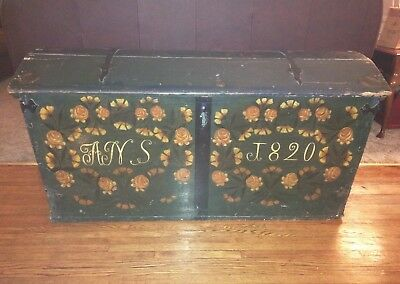 Extra Large Antique Swedish Domed Wedding Chest Trunk Rare Flora Painted 1820