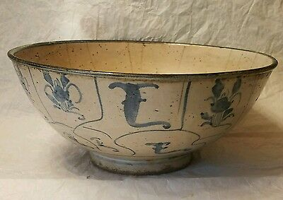 Ancient Ming Dynasty Underglaze Blue Hand Painted Signed Ceramic Bowl Swatow