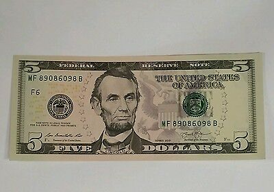 5 New Uncirculated Five Dollar Bills 2013 Frb Crisp Note Series 2013