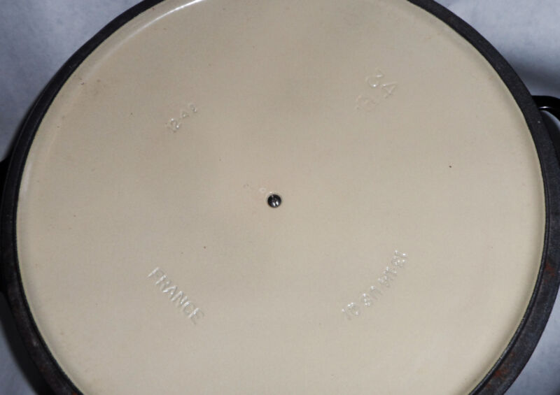 Typical Markings Inside Of A Le Creuset Lid On Second Quality