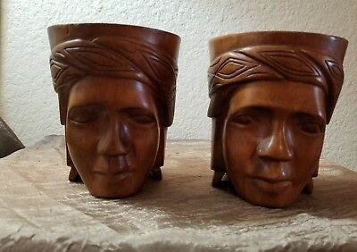 Pair of Vintage Tribal Tiki Wood Carved Face Coffee Tea Cocktail Mug Cup0