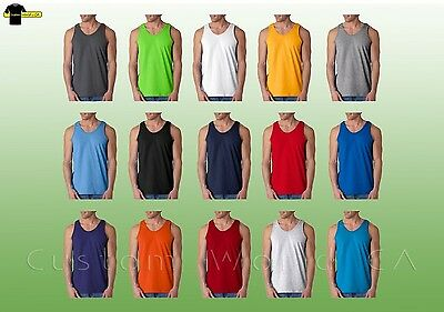 Gildan Mens Ultra Cotton Tank Top 2200   S-2XL  Workout Fitness Shirt Gym Tank -
