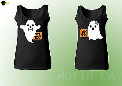 Halloween Costumes Shirts Matching  Couple Tank Tops His Boo and Hers Boo Black - Matching Couple Halloween Costumes