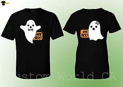 Halloween Costumes His Boo Her Boo Cute Matching T Shirts Couples Scary  (Black) - Matching Couple Halloween Costumes
