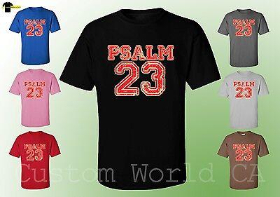 Men T-Shirt - PSALM 23 Bible Religious Shirts Jesus Love New (Bible Psalm 23)