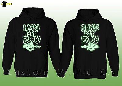 Couple Hoodie - He's My Boo She's My Boo Halloween Horror Sweaters Neon Light XT