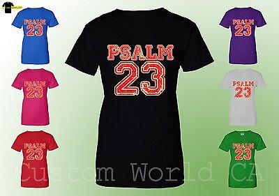Women T-Shirt - PSALM 23 Lord Bible Religious Shirts Jesus Christian New (Bible Psalm 23)