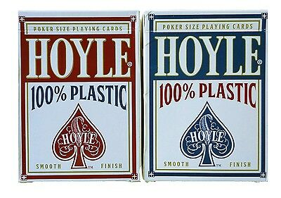 2 Decks Hoyle 100% Plastic Standard Poker Playing Cards Red & Blue New Decks Playing Cards 2 Decks