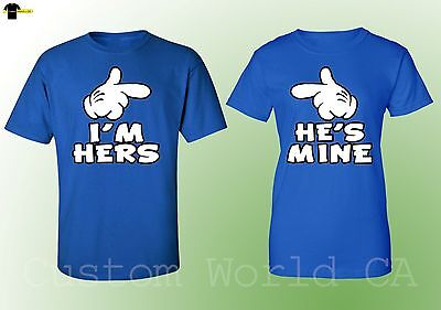 I Am Hers He Is Mine Matching Couple Shirts Couple Love Tee   Royal