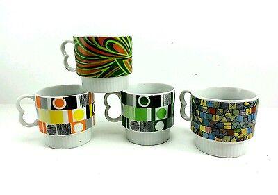 Lot of 4 Stackable Multi-color Design Coffee Cups / Mugs Retro Vintage