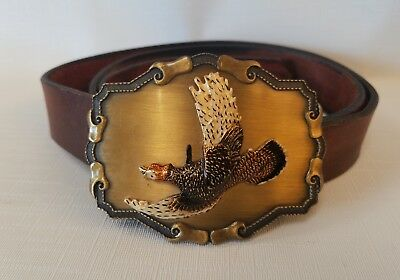 Vintage Brass Pheasant Raintree Belt Buckle  3D Game Bird Leather Belt