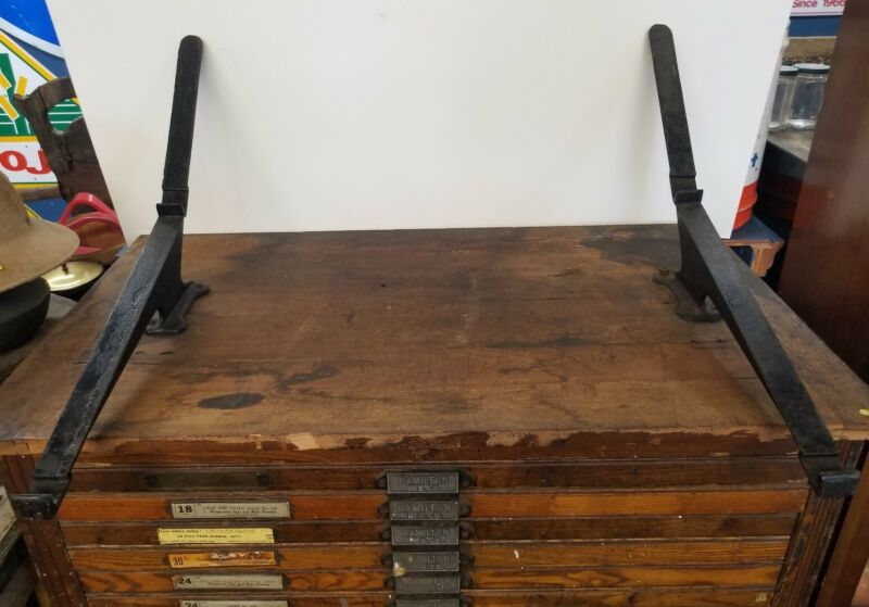 Rare Antique Hamilton Print Drawer Brackets Type Shelf Tray
