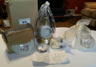 Vintage 3 Way Touch Lamp Takes Bulb Pink White Flowers Clock On Base NEW NOS Base Flower Touch Lamps