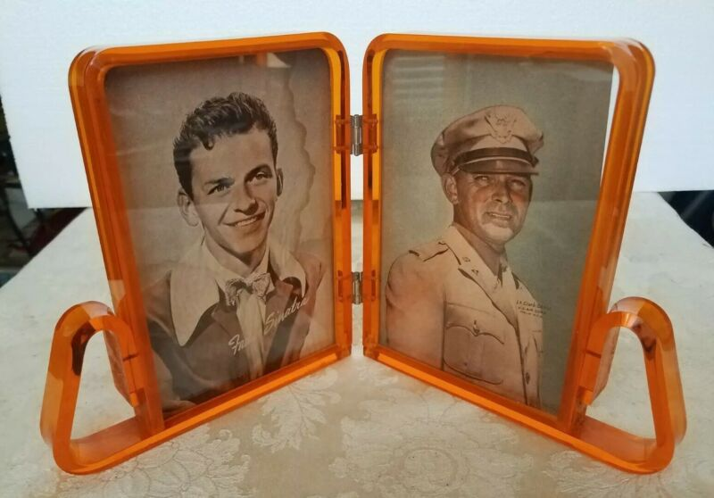 Vintage 1950s Dbl Clear Orange Lucite Acrylic Picture Frame Mid Century Modern