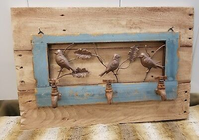 RUSTIC RECLAIMED REPURPOSED PALLET WOOD WITH BIRD WATER SPOUT DECOR SIGN