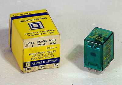 8501rs4 Square D 3 Amp 4 Pdt Relay 120 Vac Coil 14 Blade New In Box