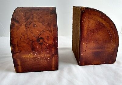 Vintage Faux Tooled Leather Distressed Horse Bookends Set