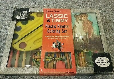 Vintage Lassie & Timmy Plastic Palette Coloring Set in Original Box Rare 1950's