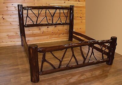 Live Edge Rustic Red Cedar Log Twig Bed - Amish Made in the USA - Multiple (Twig Log Bed)