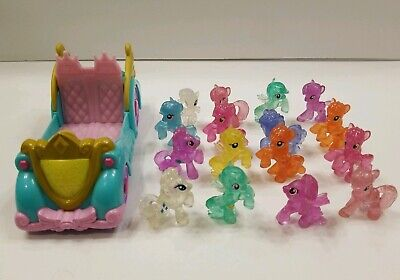 My Little Pony Mini Figures Lot of (16)Ponies Some Clear & 1- my little pony car