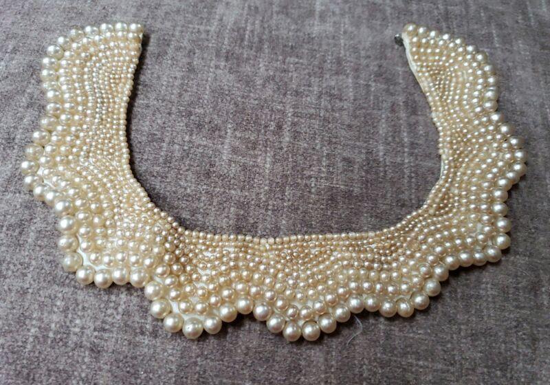 Vintage Handmade Beaded Pearl Collar