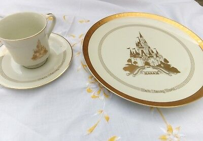Disneyland (Japan)Plate And Cup And Saucer Cream And Gold Vintage
