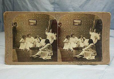 Universal Photo Art Stereoview Card Hallow e' en (Halloween) Party. An Intruder