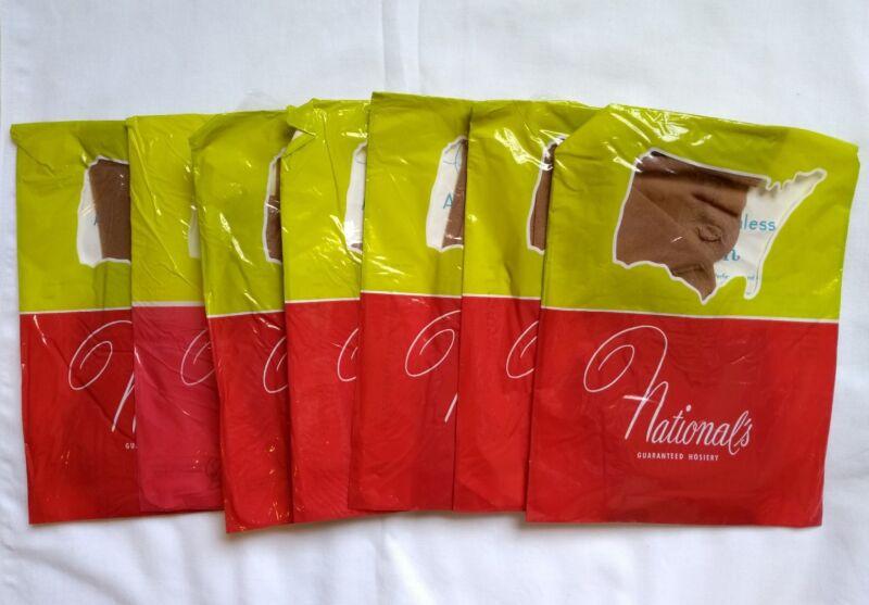 7 Pair Vintage Nationals Seamless Nylon Sheer Stockings Size B Lot