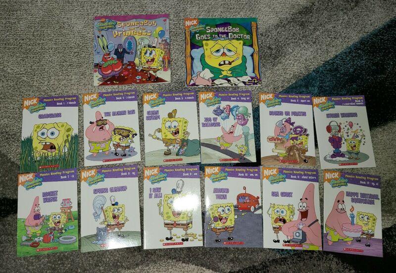 Lot of 14 *COMPLETE set of 12 SpongeBob Phonics Reading Program Books & 2 Extras