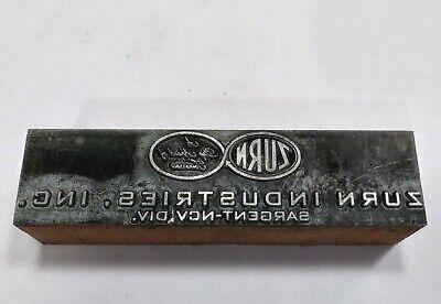 Letterpress Printing Printer Block Wood Copper Metal Type Zurn Industries Inc.