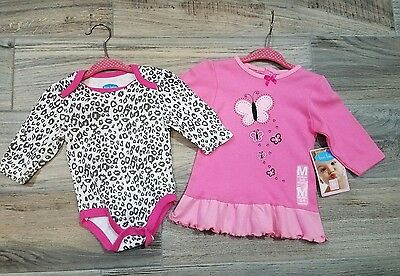 NEW Bon Bebe Baby Girl Dress & Bodysuit 3-6 Months Animal Print Butterflies