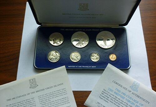 1981 BRITISH VIRGIN ISLANDS - OFFICIAL PROOF SET (7) w/ 2 SILVER - 2 Oz - RARE!