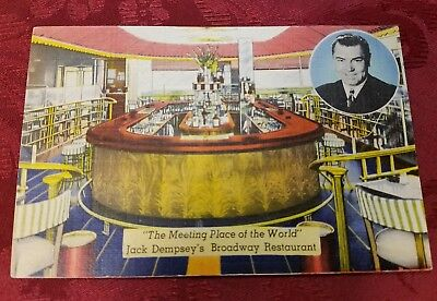 """Used, Jack Dempsey Broadway Restaurant """"The Meeting Place Of The World"""" Postcard  for sale  Reading"""