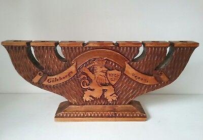 Antique Hand Carved Menorah Gothenburg Coat Arms Lion Signed Folk Art 1948