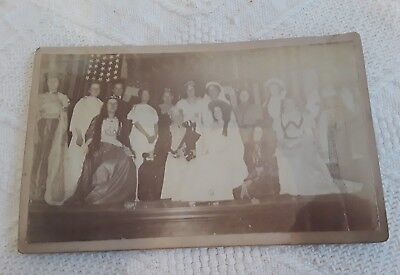 Vintage Photograph High School Play? Cast Group Costumes Names on back - Fun Group Costumes