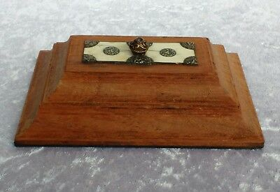 Antique Indian Sadeli Ware insert desk weight paperweight Wood Micro Mosaic
